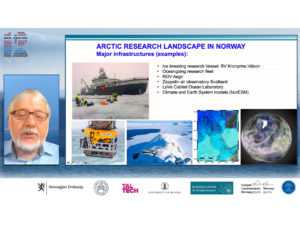 Academic director at the AE-Bergen Hub, Eystein Jansen, gave an overview the Arctic/polar research landscape in Norway.